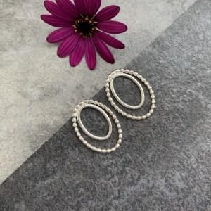 Silver oval stud earrings