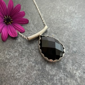 Black agate gemstone pendant