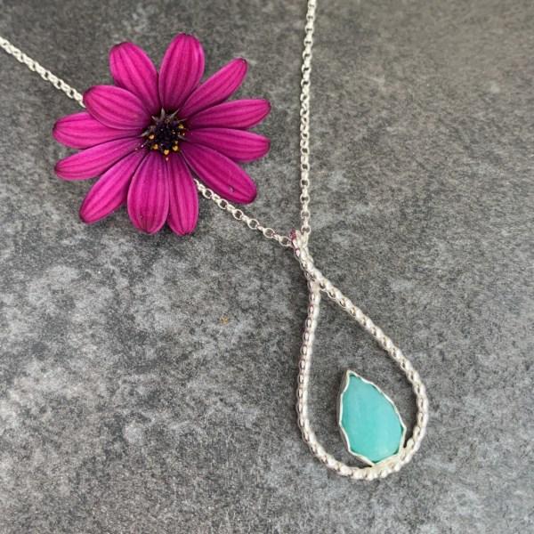 Turquoise green amazonite pendant