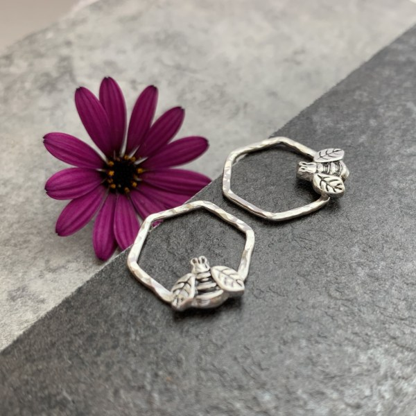 Silver honeycomb and bee stud earrings
