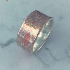 Silver and Copper Mens Ring