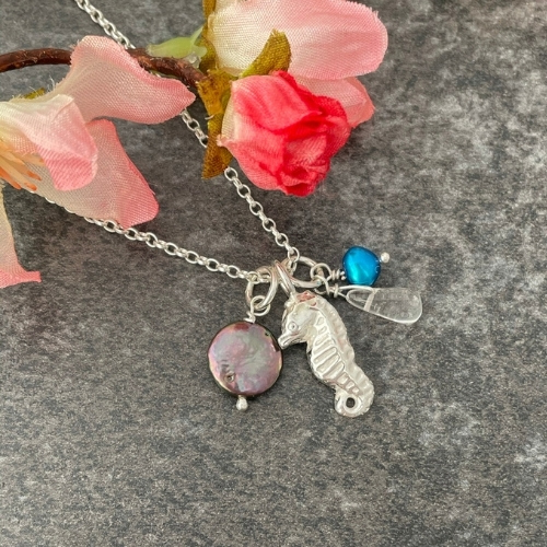 Silver seahorse nautical charm necklace