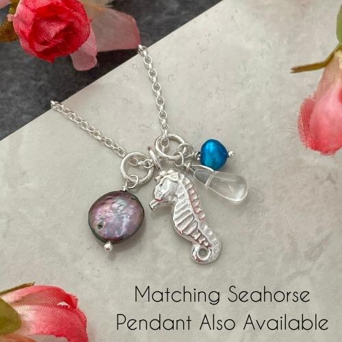 Seahorse Silver nautical charm pendant