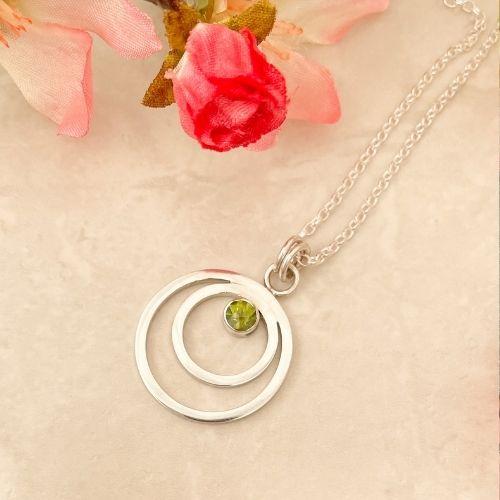 Green peridot gemstone silver pendant handmade necklace