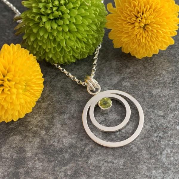 Peridot green gemstone pendant necklace
