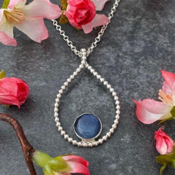 Blue kyanite gemstone handmade pendant hallmarked necklace