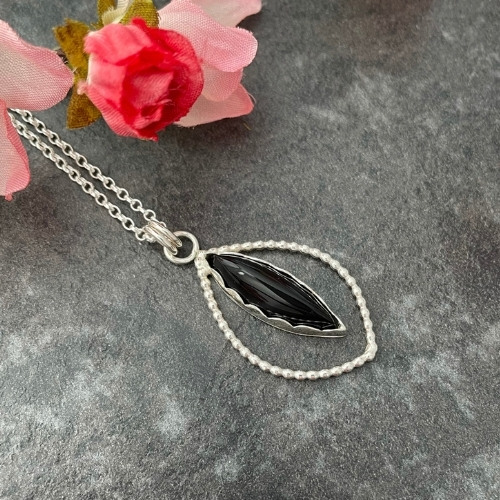 Onyx handmade silver pendant