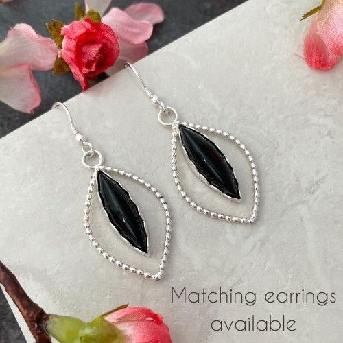 Unique black onyx gemstone earrings
