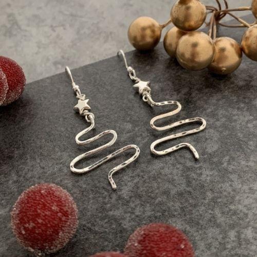 Silver star Christmas tree earrings