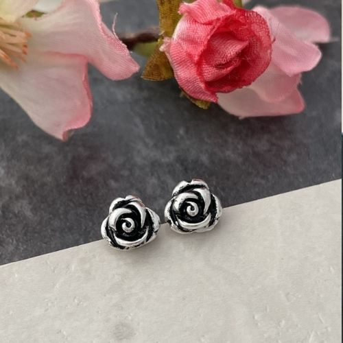Silver rose flower stud earrings
