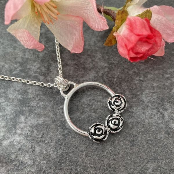 Rose Flower Silver Necklace
