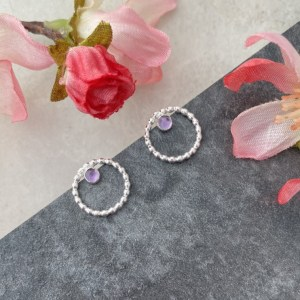 Amethyst circle stud earrings