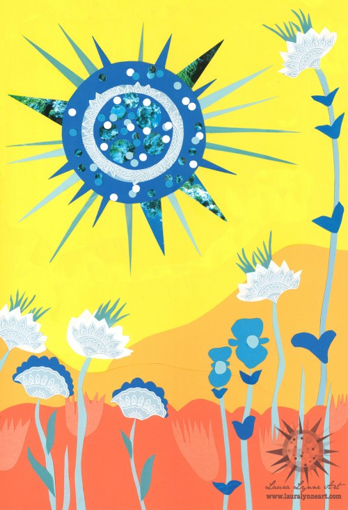 scarlet begonias grateful dead song lyric illustration art with blue sun and yellow sky mixed media collage