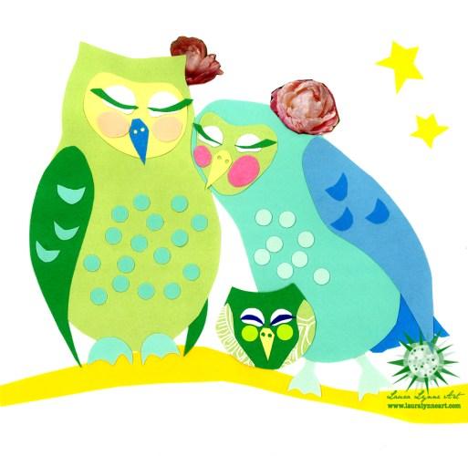 Lesbian owl family illustration for baby shower gift