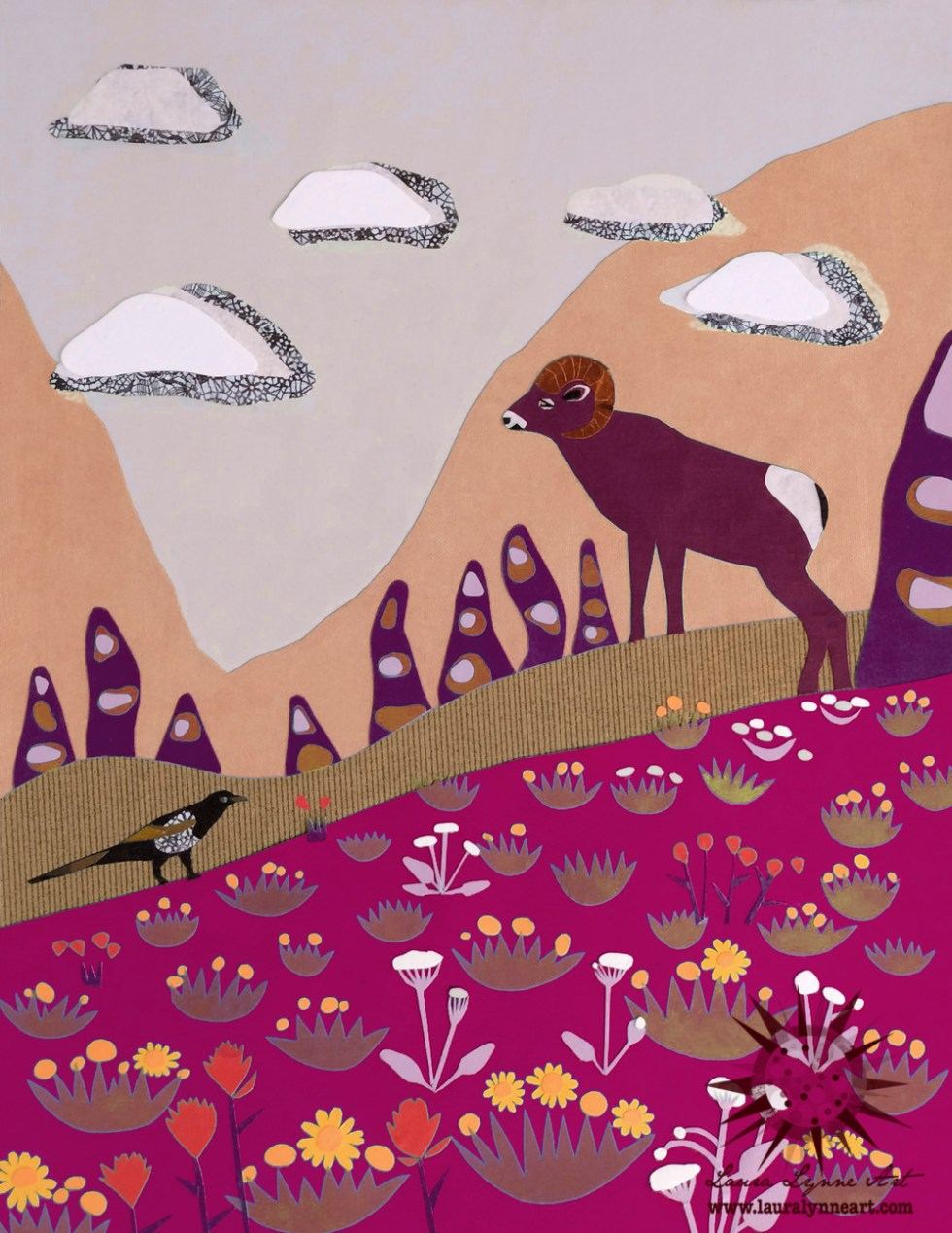 Ram and magpie in the mountains with wildflowers