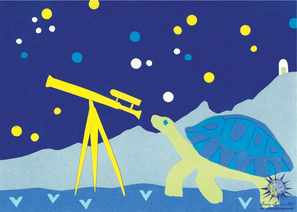 Turtle looking through a vintage telescope with stars