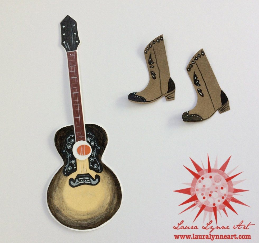 guitar collage with cowgirl boots handpainted details
