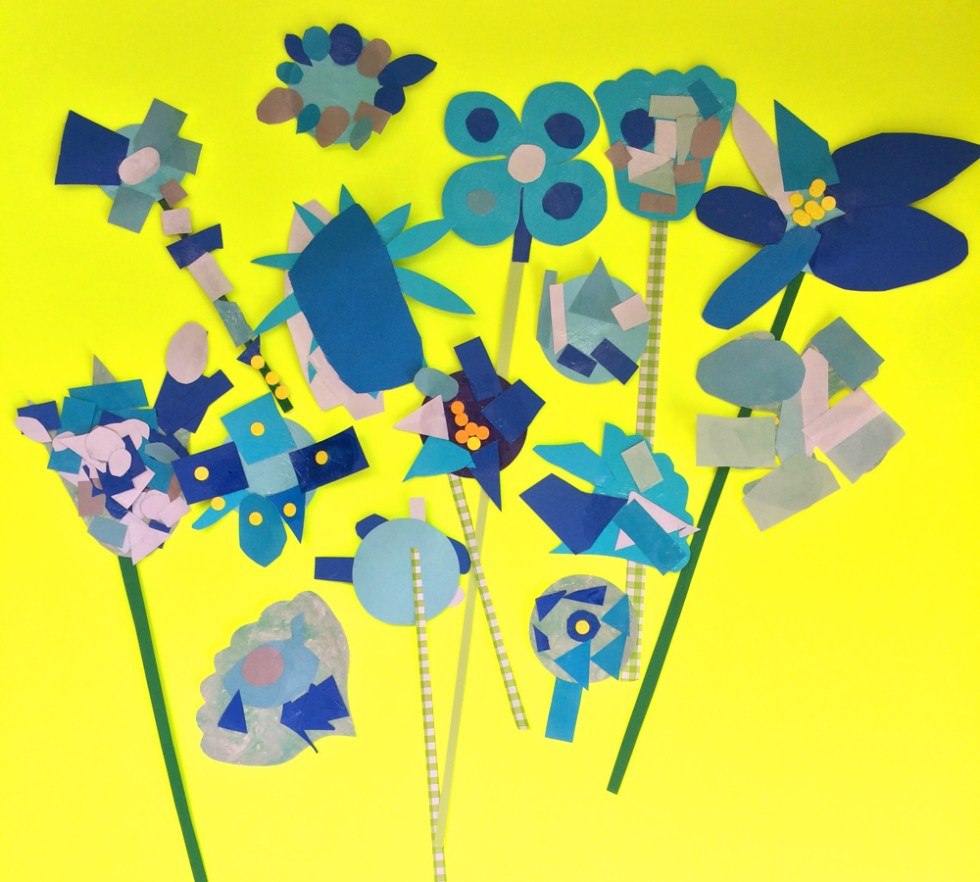 blue flower collages made by 4 and 5 year olds