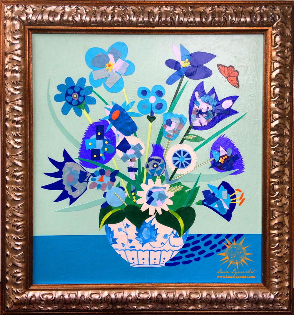 monarch butterfly and still life blue flower collage with painted vase