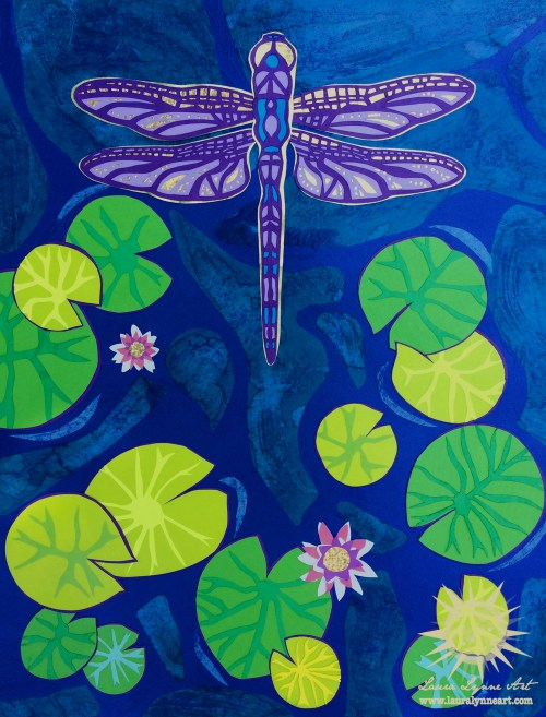 dragonfly papercut collage original mixed media art with green lily pads and pink lotus flowers over blue water