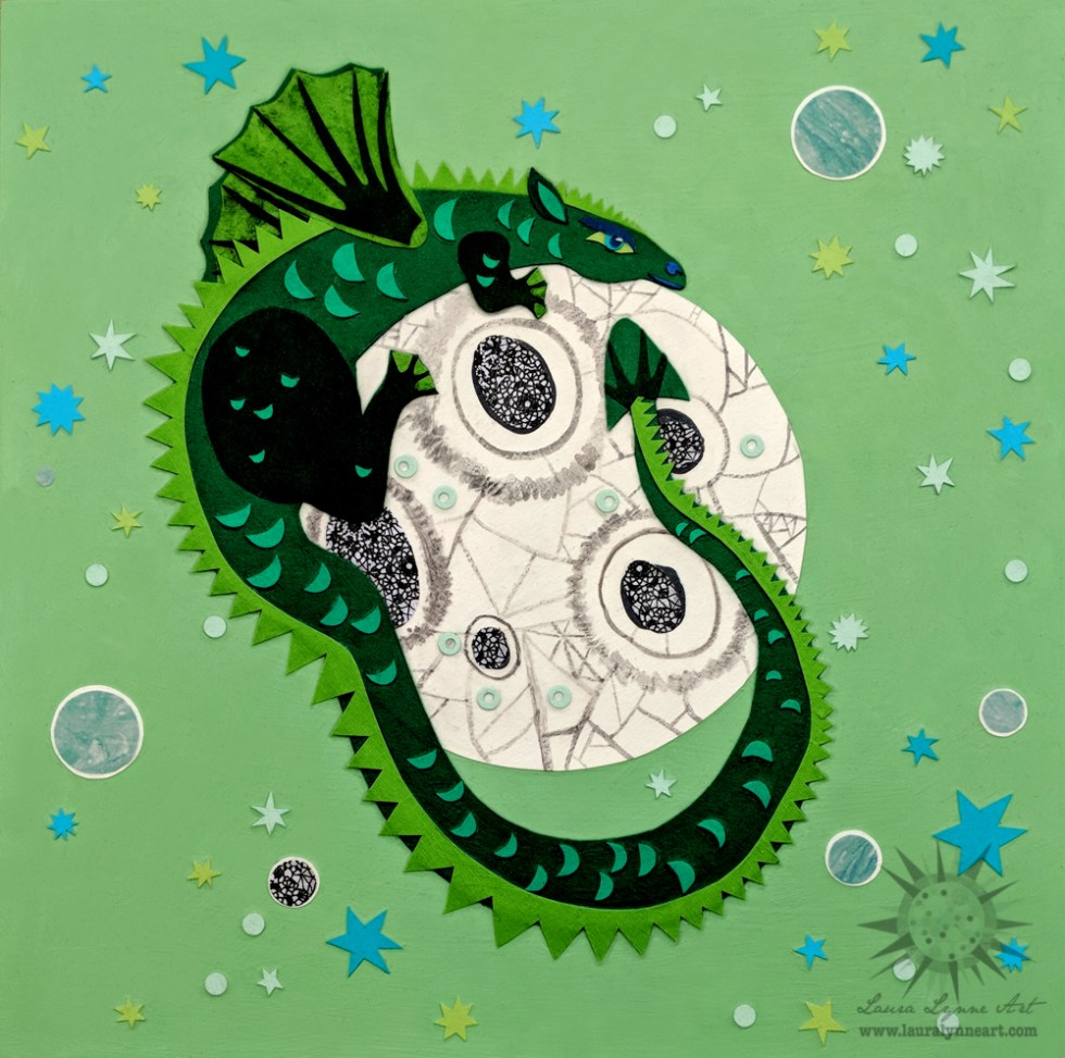 Green Dragon Curled around egg mixed media art collage painting in green with planets moons and stars
