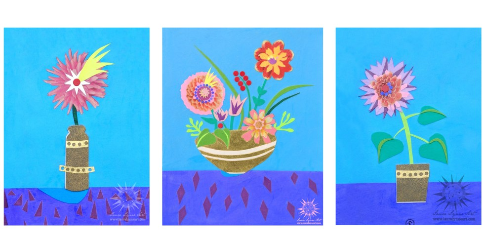 Whimsical flower collages on blue background with gold pots and mid century modern designs