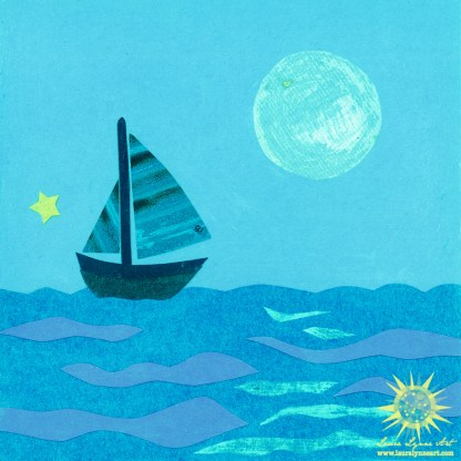 Blue Sailboat with Full Moon and Ocean Illustration