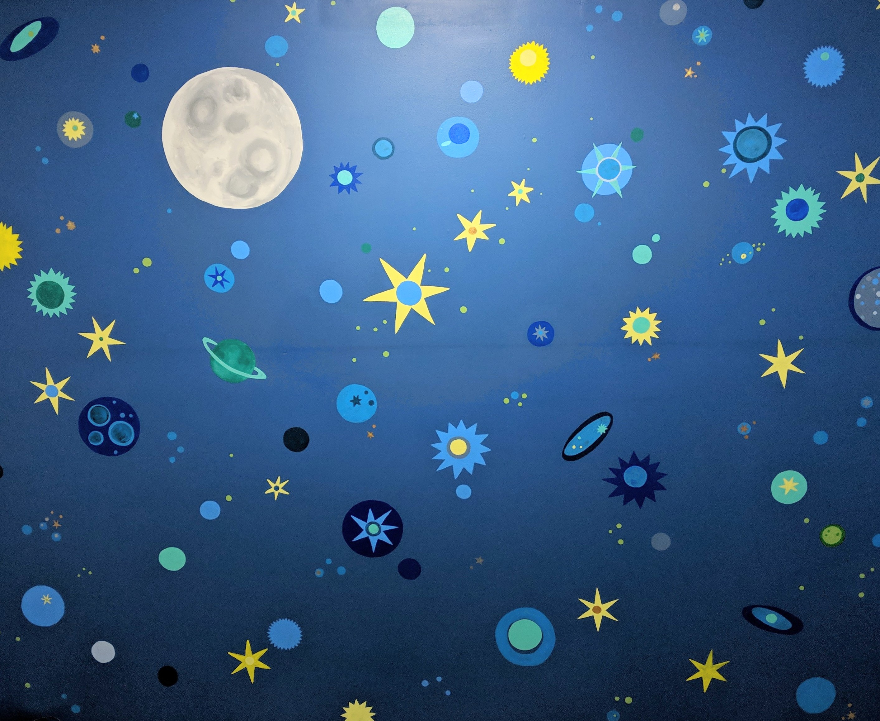 Moon, Stars, Planets and Galaxies Mural Art