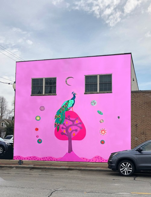 """Mural idea based on Laura Lynne Art's mixed media art titled """"Volcano"""" depicting a hot pink sky, a peacock on a tree surrounded by planets, moons and stars."""