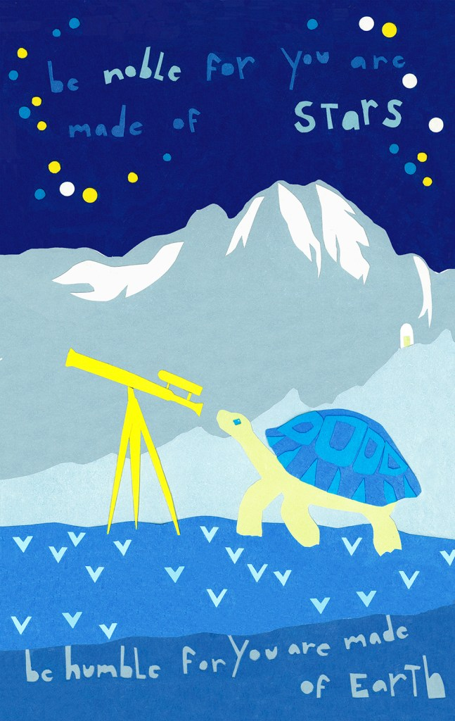 artwork for a mini mural in Oak Park, IL. Astronomer turtle with vintage telescope and Serbian proverb.