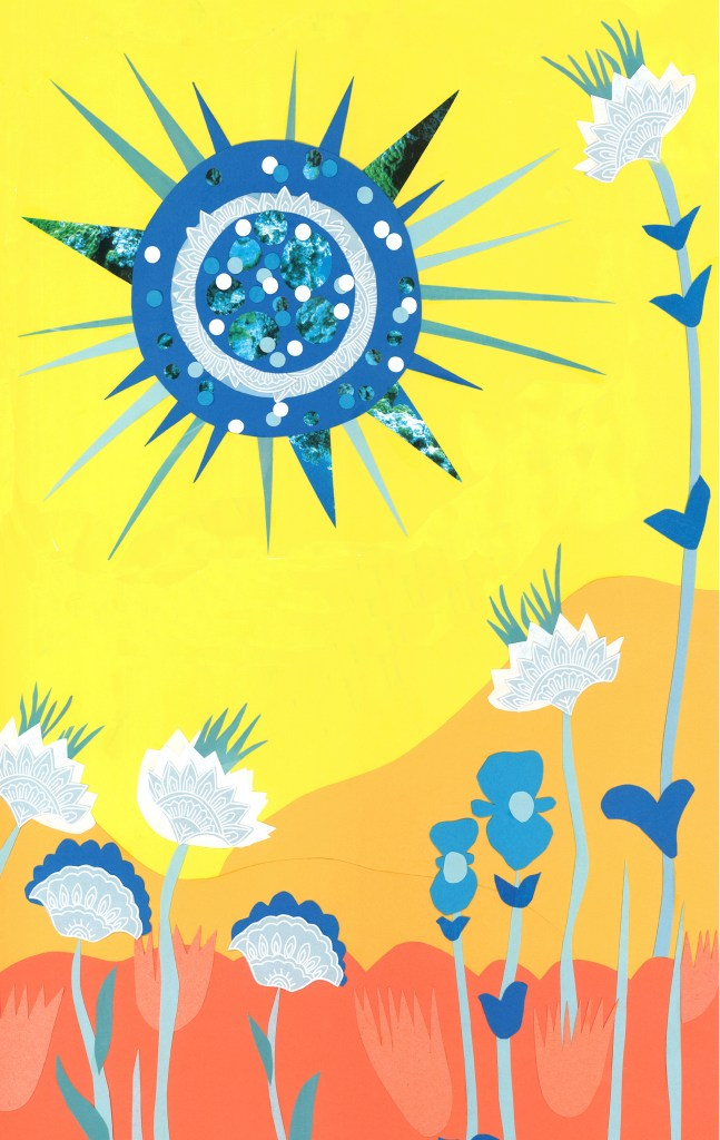 Mural Plan for vertical wall of a blue sun, hills and flowers