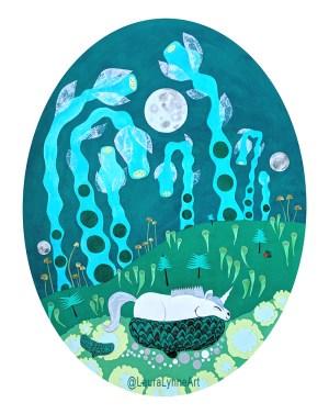 Green oval unicorn fine art print