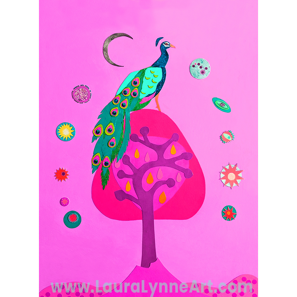 Pink peacock wall art