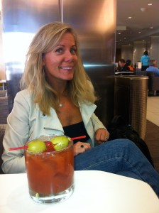 My friend Kourtney, from front door to Sky Club in the International Terminal in 45 minutes!!