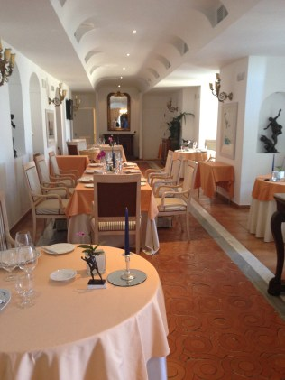 The dining room at Palazzo Avino.