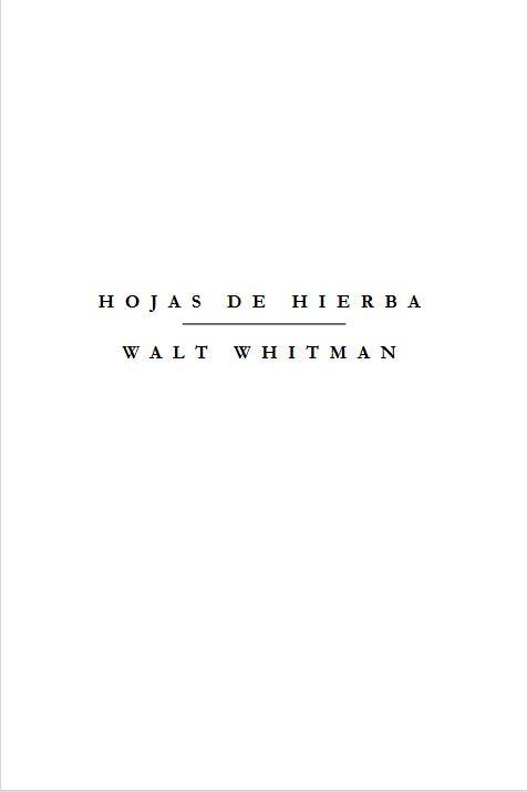 Hojas de hierba Walt Whitman
