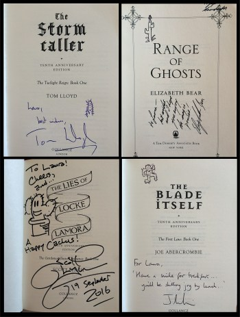 Signed and Cactigraphed Books by Tom Lloyd, Elizabeth Bear, Scott Lynch and Joe Abercrombie