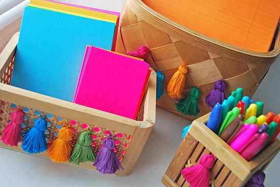 17tassel upcycled desk organizer baskets