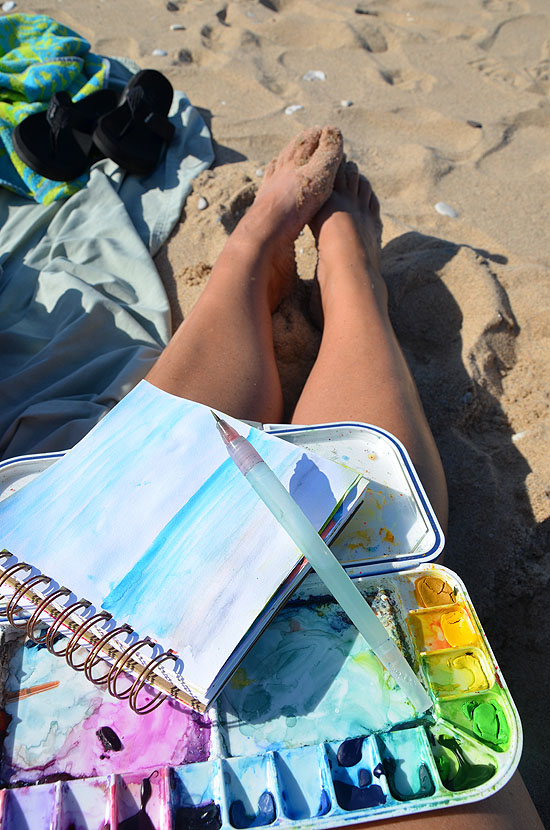 3sketching at the beach
