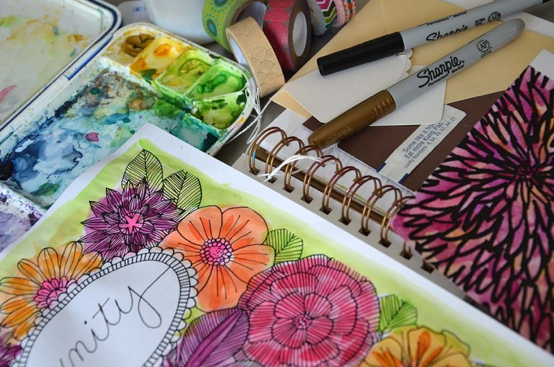 Color your page before you use it in your art journal.
