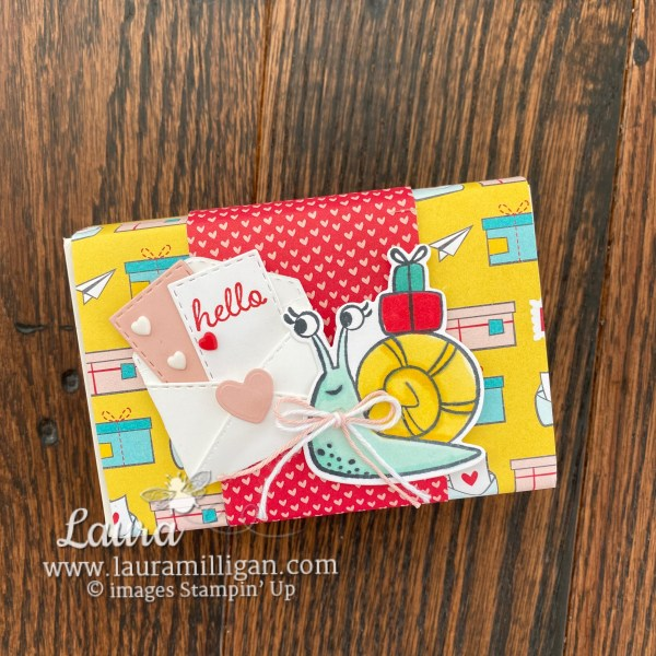 Hello gift box created with the Snail Mail Bundle from Stampin' Up! Card by Laura Milligan