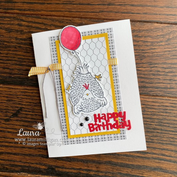 Hey Birthday Chick Happy Birthday Card by Laura Milligan. Shop Online 24/7 and earn Free Bees!