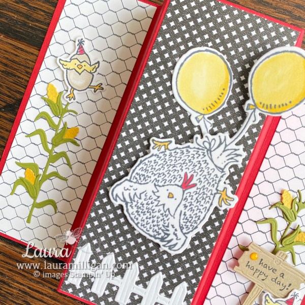 Hey Birthday Chick Bundle by Stampin' Up! Fun-fold card by Laura Milligan, Shop Online