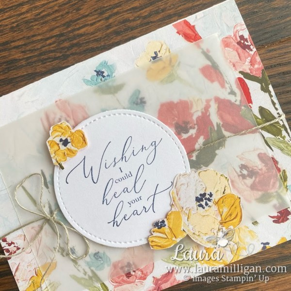 Create this card with the Fine Art Floral Designer Paper from Stampin' Up! Laura Milligan, demonstrator, I'd Rather Bee Stampin'
