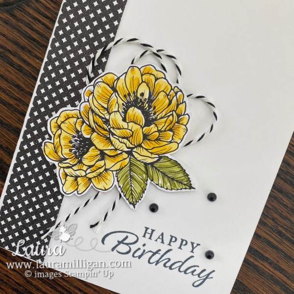 True Love Designer Series Paper from Stampin' Up! Birthday Card by Laura Milligan, I'd Rather Bee Stampin'