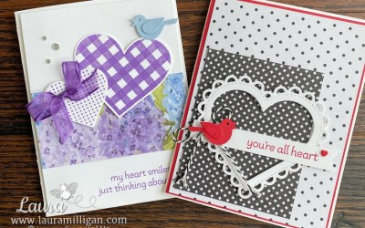 Handmade card with Stampin' Up's Lots of Hearts Bundle created by Laura Milligan, I'd Rather Bee Stampin', Earn Free Product