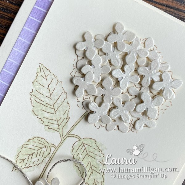 beautiful handmade hydrangea card with pearlescent paper by Laura Milligan Demonstrator Stampin' Up!