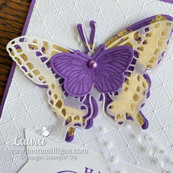 create a beautiful gilded leafing butterfly by Laura Milligan stampin' up demonstrator