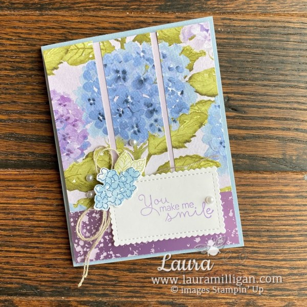 create a handmade hydrangea card with mercury glass by Laura Milligan Stampin' Up!
