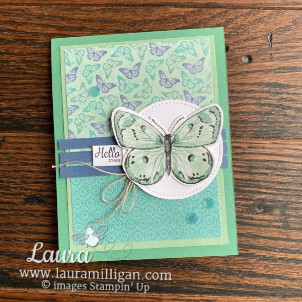 create this beautiful card with the Butterfly Bouquet bundle by Stampin' Up! Laura Milligan, I'd Rather Bee Stampin' Earn Free Product
